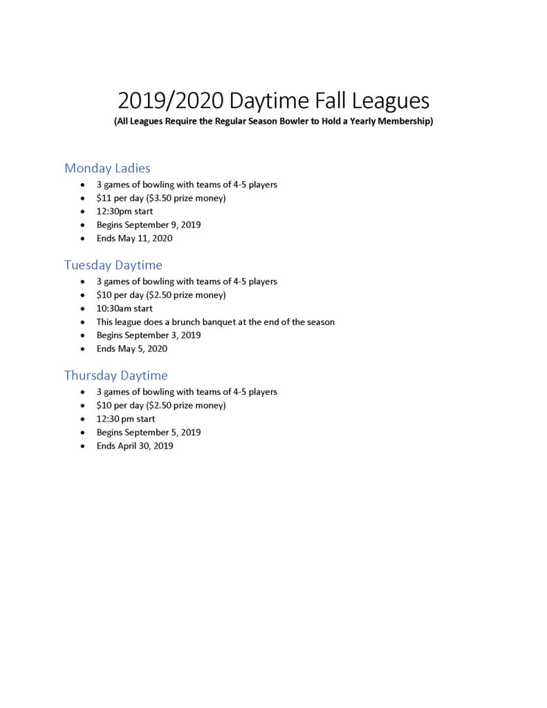 2019/2020 Daytime Fall Leagues